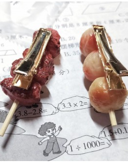 HOLIDAY BBQ FOOD PATTERNED HANDMADE HAIRPINS