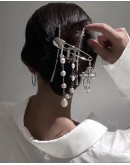 FREE SHIPPING FAUX PEARL CROSS HAIR-CLIPS