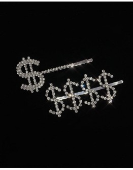 FREE SHIPPING FAUX GEM $ MONEY PATTERED 2 IN 1 SET HAIRPINS