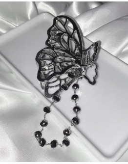 12.12 FREE SHIPPING METAL FAUX GEM BUTTERFLY+ CHAIN BUTTERFLY HAIRPINS