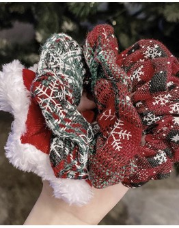 CHRISTMAS PATTERNS HAIR RINGS 4 IN 1 SET