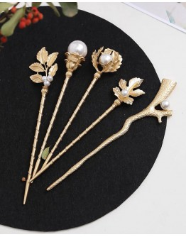 FREE SHIPPING METAL FAUX PEARL GEM HAIRPIN