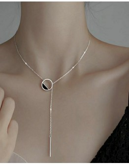 FREE SHIPPING 925 SILVERY ROUND NECKLACE WITH BOX
