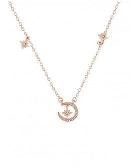 FREE SHIPPING 925 SILVERY MOON NECKLACE WITH GIFT BOX
