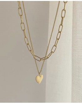 FREE SHIPPING METAL HEART CHAIN LAYRED NECKLACE