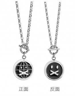 FREE SHIPPING UNISEX TITANIUM STEEL DOUBLE EMOJI CHAIN NECKLACE