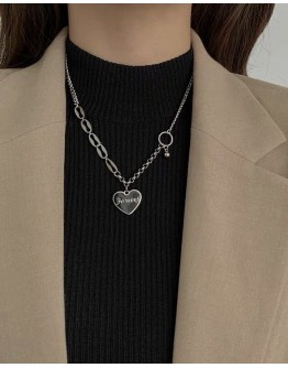 FREE SHIPPING TITANIUM STEEL HEART FOREVER NECKLACE