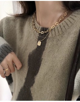 FREE SHIPPING METAL LAYRED CHAIN NECKLACE