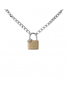 CHAIN LOCK + KEY PATTERN NECKLACE