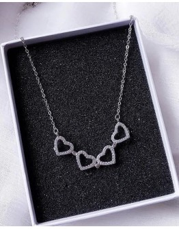 FREE SHIPPING S925 SILVERY HEART CLOVER NECKLACE