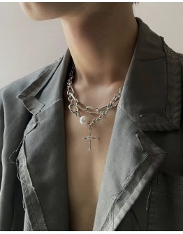 FREE SHIPPING PLATING FAUX PEARL LAYRED UNISEX NECKLACE