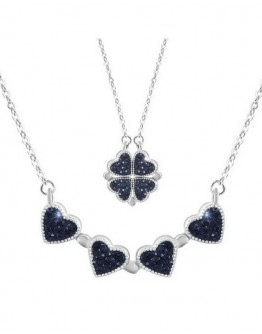 FREE SHIPPING TITANIUM STEEL CLOVER HEART NECKLACE