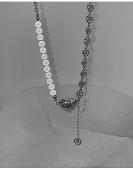 FREE SHIPPING PLATING METAL FAUX PEARL HEART LAYTED NECKLACE