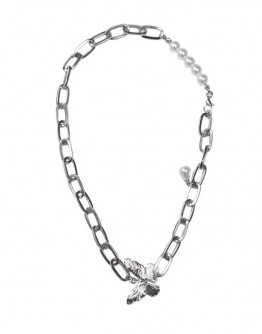 FREE SHIPPING METAL BUTTERFLY FAUX PEARL CHAIN NECKLACE