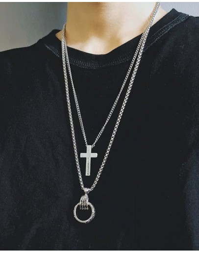 FREE SHIPPING UNISEX CROSS + RING CHAIN NECKLACES