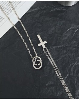FREE SHIPPING UNISEX CROSS + DOUBLE RING CHAIN NECKLACES