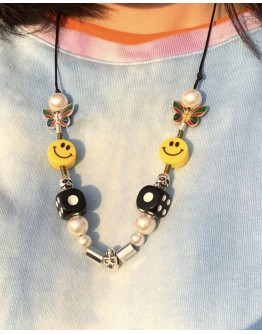 UNISEX SMILE EMOJI DICE NECKLACE