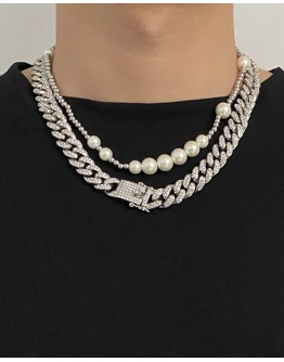 UNISEX FAUX GEM CHAIN NECKLACE 45cm/ 50cm/ 60cm