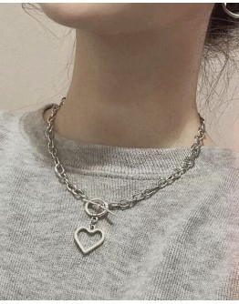 FREE SHIPPING TITANIUM STEEL HEART CHAIN NECKLACE