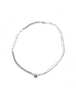FREE SHIPPING LADIES FAUX PEARL CHAIN NECKLACE