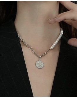 FREE SHIPPING UNISEX FAUX PEARL CHAIN NECKLACE 40CM