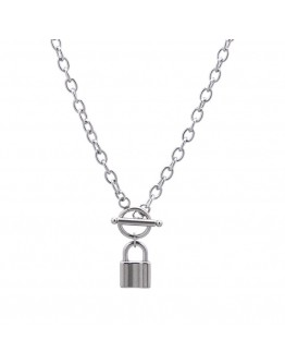 FREE SHIPPING UNISEX TITANIUM STEEL LOCK CHAIN NECKLACE
