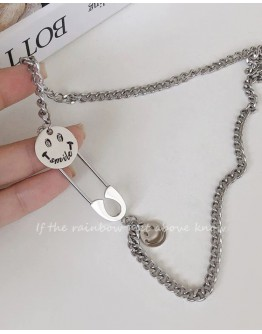 FREE SHIPPING TITANIUM STEEL SMILE PIN PATTERN CHAIN NECKLACE