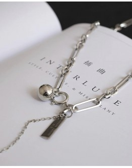 FREE SHIPPING UNISEX METAL LAYRED CHAIN NECKLACE