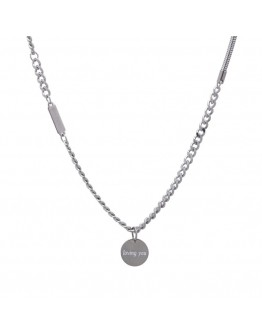 FREE SHIPPING UNISEX TITANIUM STEEL LOVING YOU NECKLACE 53CM
