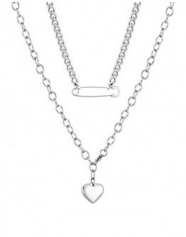 FREE SHIPPING METAL PIN & HEART DOUBLE CHAIN NECKLACE