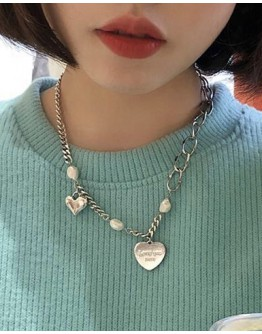 FREE SHIPPING METAL HEART CHAIN NECKLACE