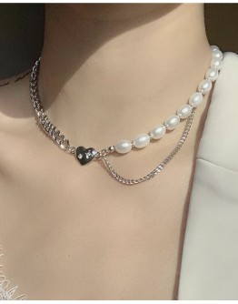 FREE SHIPPING HEART FAUX PEARL CHAIN NECKLACE