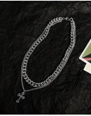 FREE SHIPPING UNISEX TITANIUM STEEL DOUBLE CROSS CHAIN NECKLACE