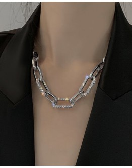 FREE SHIPPING METAL FAUX GEM CHAIN NECKLACE