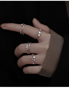 FREE SHIPPING 925 SILVERY FAUX GEM LAYRED RING