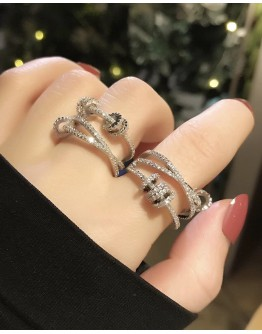 OVERGILD FAUX DIAMOND OPEN-END RING