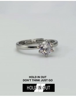 【GS】FREE SHIPPING S925 SOLITAIRE RHINESTONE RING WITH BOX