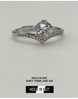 【GS】FREE SHIPPING S925 PRINCESS CROWN RHINESTONE RING WITH BOX