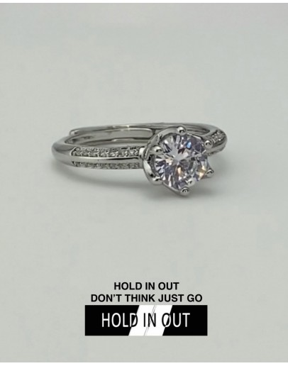 【GS】FREE SHIPPING S925 FLORA SOLITAIRE RHINESTONE RING WITH BOX