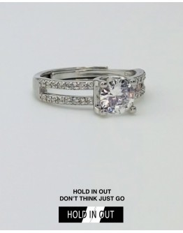 【GS】FREE SHIPPING S925 ROUND CUT-OUT RHINESTONE RING WITH BOX