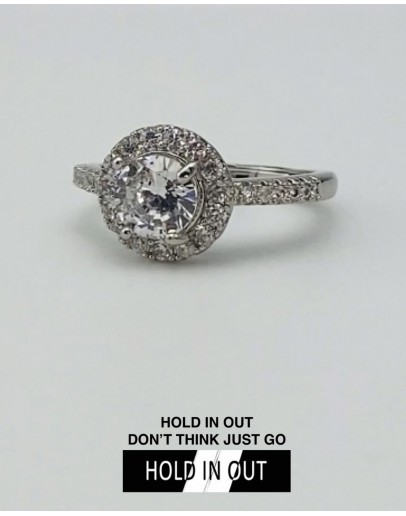 【GS】FREE SHIPPING S925 CLASSIC ROUND CUT-OUT RHINESTONE RING WITH BOX