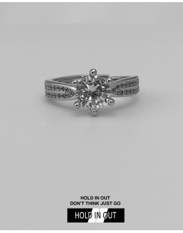 【GS】FREE SHIPPING DOUBLE ROUND S925 OPEN-END RHINESTONE RING WITH BOX