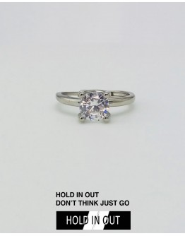 【GS】FREE SHIPPING S925 OPEN-END CLASSIC RHINESTONE RING WITH BOX