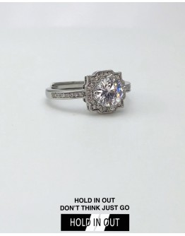 【GS】FREE SHIPPING PRINCESS S925 OPEN-END RHINESTONE RING WITH BOX