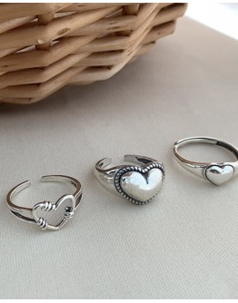 9.9 BUY 4 FREE 1 FREE SHIPPING D SILVERY PATTERN RINGS