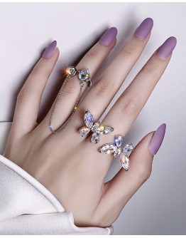 FREE SHIPPING LADIES FAUX GEM CHAIN BUTTERFLY RING