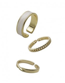 FREE SHIPPING LADIES METAL GOLD 3 IN 1 RINGS SET