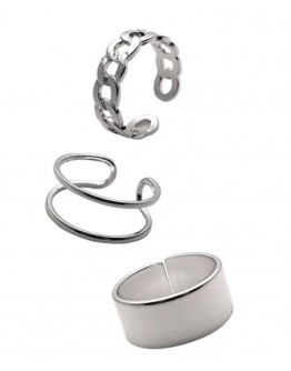 FREE SHIPPING LADIES METAL SILVERY 3 IN 1 RINGS SET