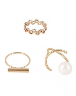FREE SHIPPING METAL FAUX PEARL CUT OUT RINGS SET