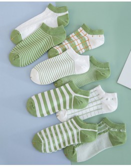 FREE SHIPPING LADIES GREEN STRIPE CHECKED ANKLE SOCKS FOR 1 PAIR ONLY